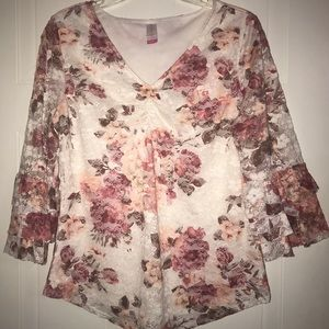 No Boundaries Floral Lace Bell-Sleeve Top